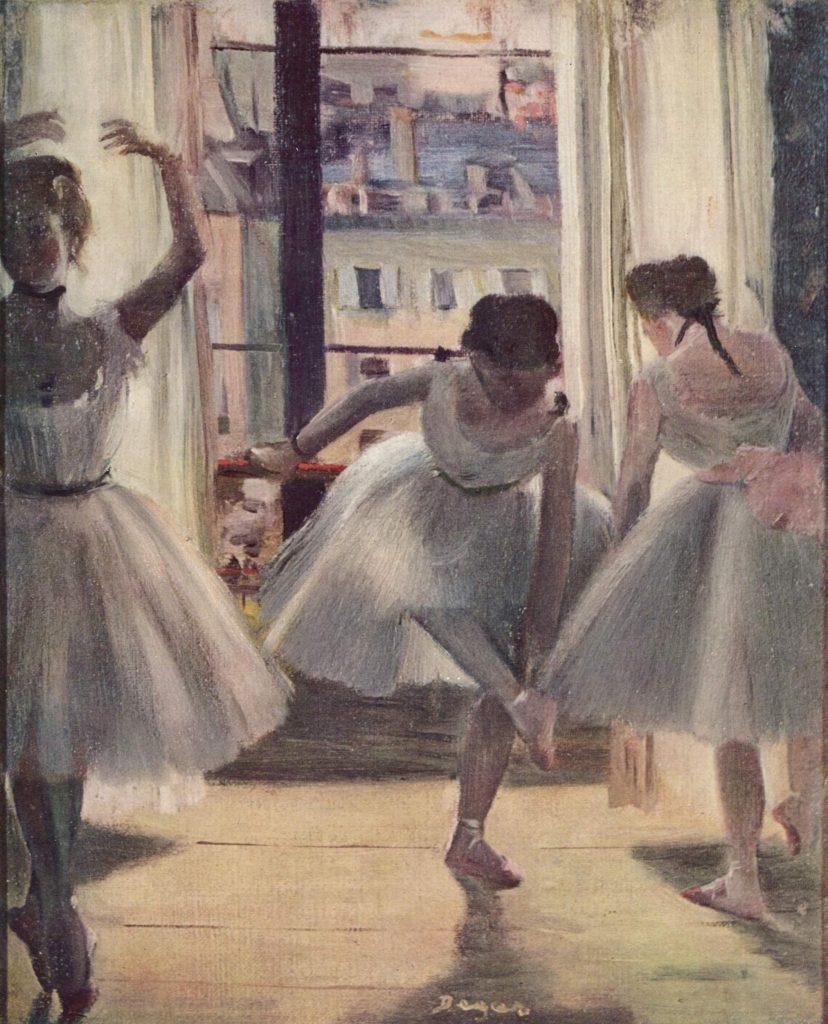Tres bailarinas en una sala de ejercicios. DEGAS-danza-teatro-trabajar con bailarines