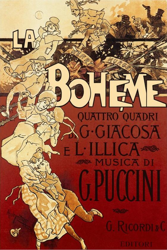 Póster original de 1896 de La bohème por Adolfo Hohenstein.