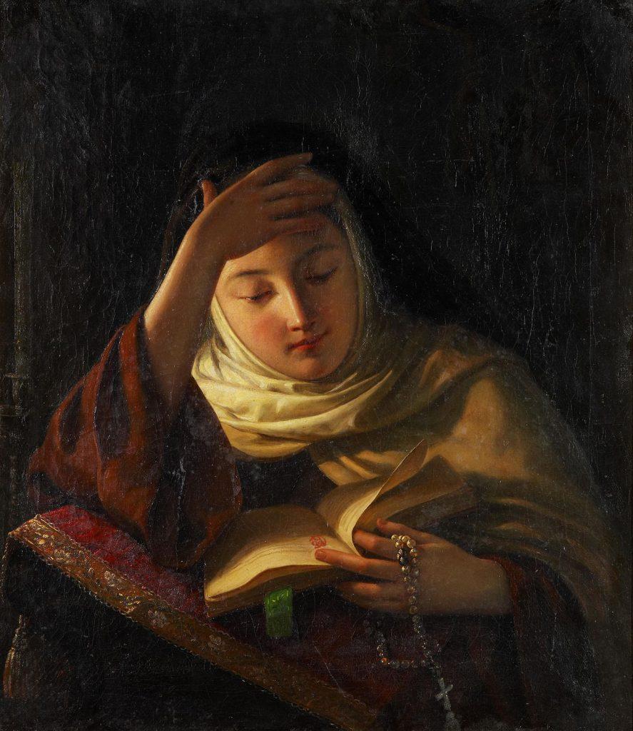 Joven monja en oració nSergei Ivanovich Gribkov